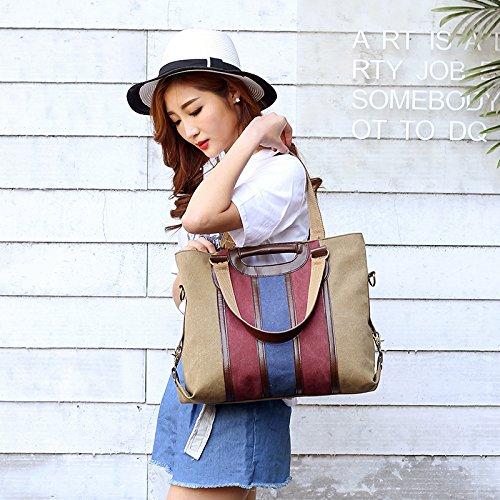 with Bag Color Womens Strap Shoulder iDamtok Large Capacity Blocking brown Removable Shoulder Canvas Handbag Crossbody Hobo Totes RqZ7f