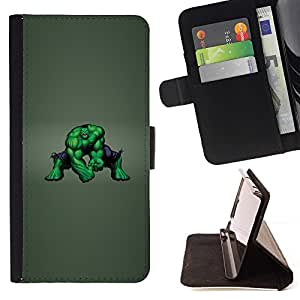BETTY - FOR HTC One M8 - Green Monster - Style PU Leather Case Wallet Flip Stand Flap Closure Cover