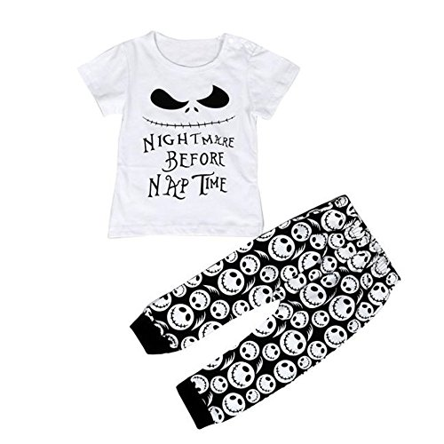2pcs Outfit Buedvo Baby Boys Girls Nightmare Before Nap Time Print Tops+Skull Pants (0-9Months, White)