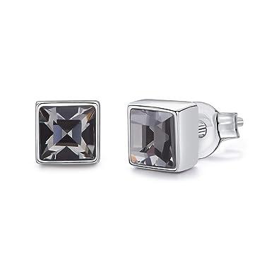 41205827e SNOWH Women Swarovski Earrings - Silver Plated Studs Ear Ring Crystal CZ  Rhinestone Studs for Wedding