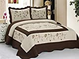 quilted duvet cover queen - 3pcs High Quality Fully Quilted Embroidery Quilts Bedspread Bed Coverlets Cover Set , Queen King (Taupe/Brown)