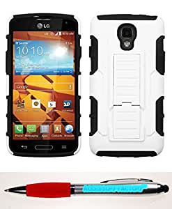 Accessory Factory(TM) Bundle (the item, 2in1 Stylus Point Pen) LG LS740 (Volt) White Black Car Armor Stand Protector Cover (Rubberized)