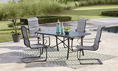 Cosco Outdoor Dining Chairs, SmartConnect, 2-Pack, Charcoal Gray with Light Gray Cushions