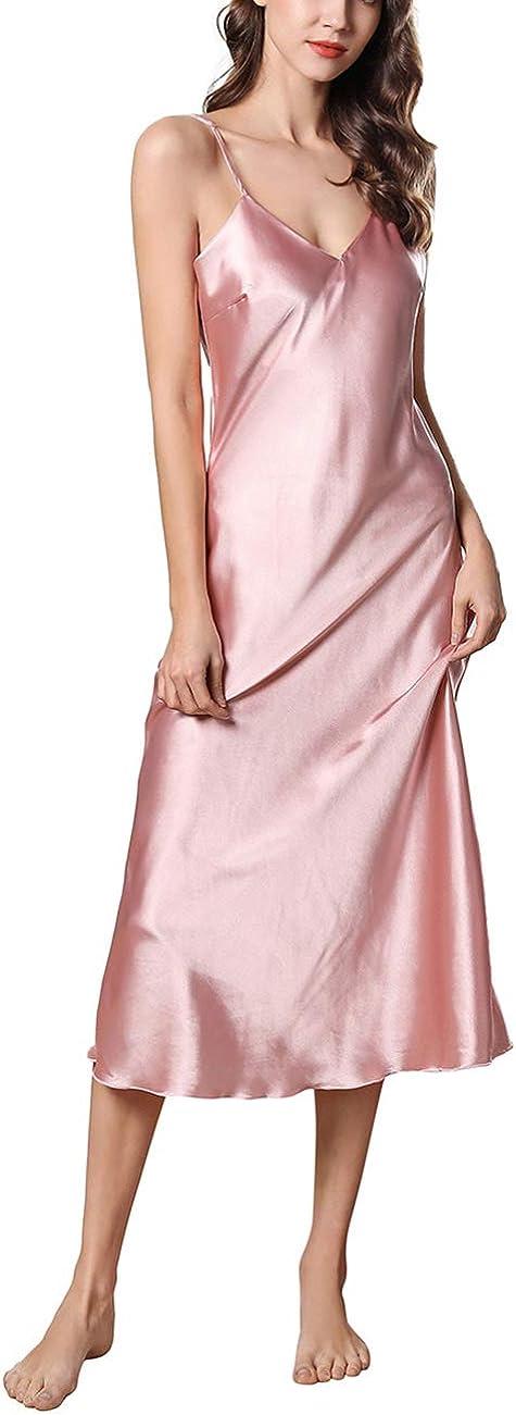 EverChic Women's Satin Lingerie V Neck Nightwear Spaghetti Strap Chemise Nightgown Full Slip Lounge Dress