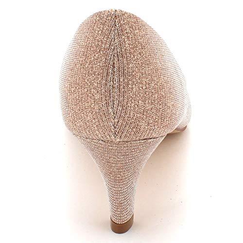 Glisser Femmes Sur Dames Soir Prom Peeptoe Scintillant Talon Champagne Taille Bal Mariage Des Fête Mariée De Sandales Chaussures Moyen n4qnBxOr