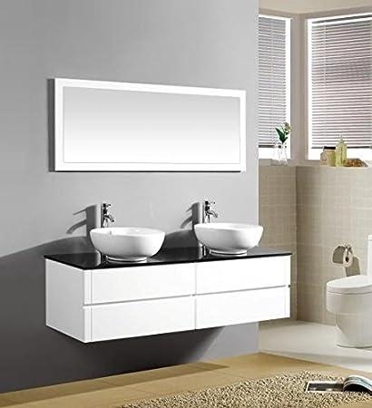 Mobile Arredo Bagno 150cm sospeso bianco con lavabo d'appoggio e ...