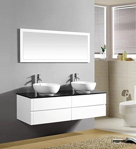 Mobile Arredo Bagno 150cm sospeso bianco con lavabo d\'appoggio e ...