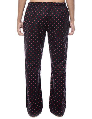 Twin Boat Pantalón Pijama de Franela de Algodón para Mujer Diva Lunares Negro/Rosso