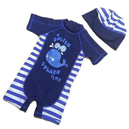 Luzlen Baby Boys Beach Swimsuit One-Piece Rash Guard Sun Protective Shark Swimwear with Hat 1-6 T Blue