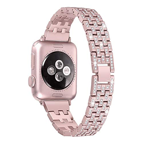 Secbolt Bling Metal Bands Compatible Apple Watch Band 38mm 40mm iWatch Series 4/3/2/1, Dressy Diamond Bracelet Wristband Women, 4 Colors Available, Rose Gold