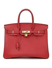 Macton European and American Classic Padlock Genuine Leather Top Handle Handbags Mc-1329