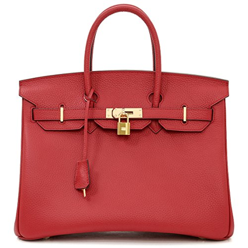 Macton European and American Classic Padlock Genuine Leather Top Handle Handbags Mc-1329 (13.8'', Red) by Macton