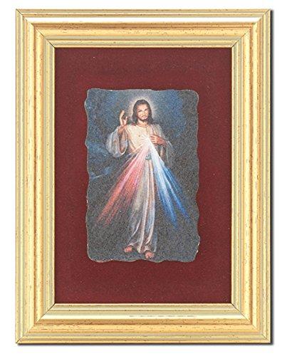 """Divine Mercy Gold Framed Museum Inspired Italian Fresco Plaque on Burgundy Velvet Lining Overall 5"""" x 6-1/2"""" ()"""