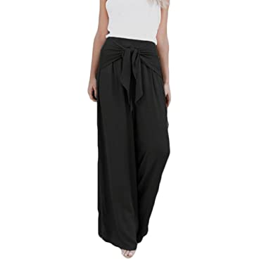 Women Casual Loose High Waist Tie-up Knot Front Wide Leg Bell Bottom. Roll  over image to zoom in. Challyhope Women Pants 6202f62a0585