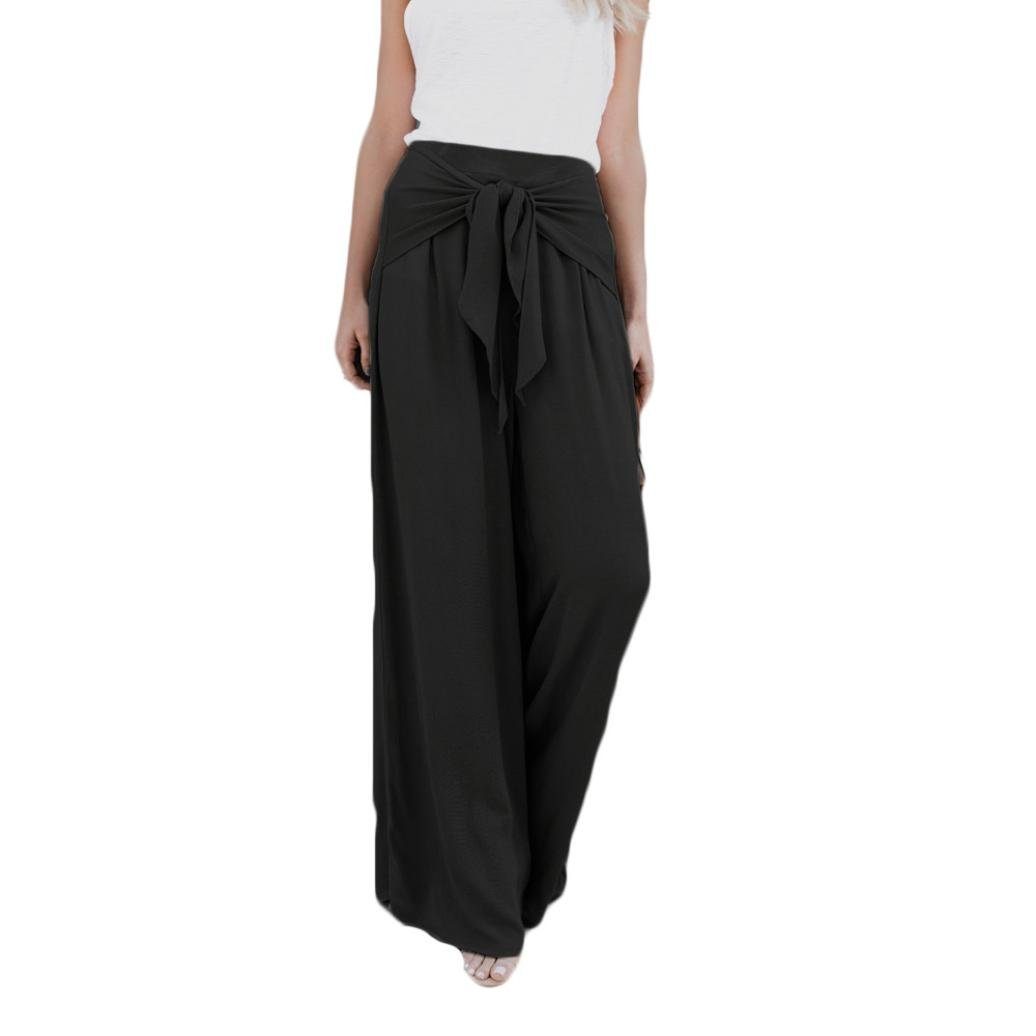 Clearance! Women Casual Loose High Waist Tie-up Knot Front Wide Leg Bell Bottom Palazzo Flare Pants (XL, Black)