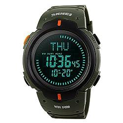 Farsler Multifunction Men's 50M Waterproof Compass Watch World Time Alarm Clock Outdoor Sports Digital Watch (Army Green)