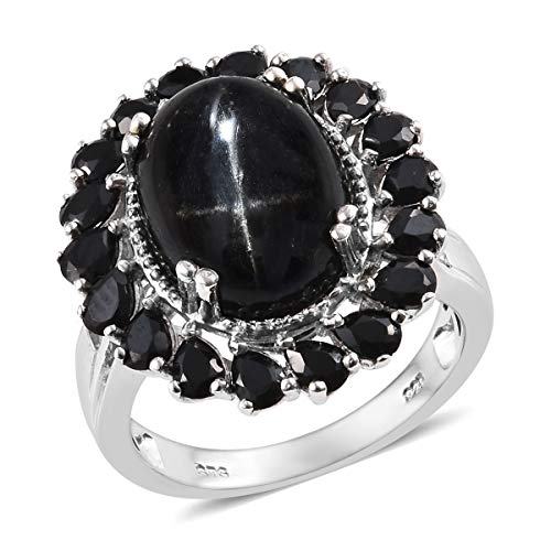 (Cocktail Ring 925 Sterling Silver Platinum Plated Black Star Chrome Diopside Black Spinel Jewelry for Women Size 8)