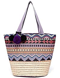 Straw Beach Tote Bag with Pom Poms, Printed Fabric Detail and Inner Pouch