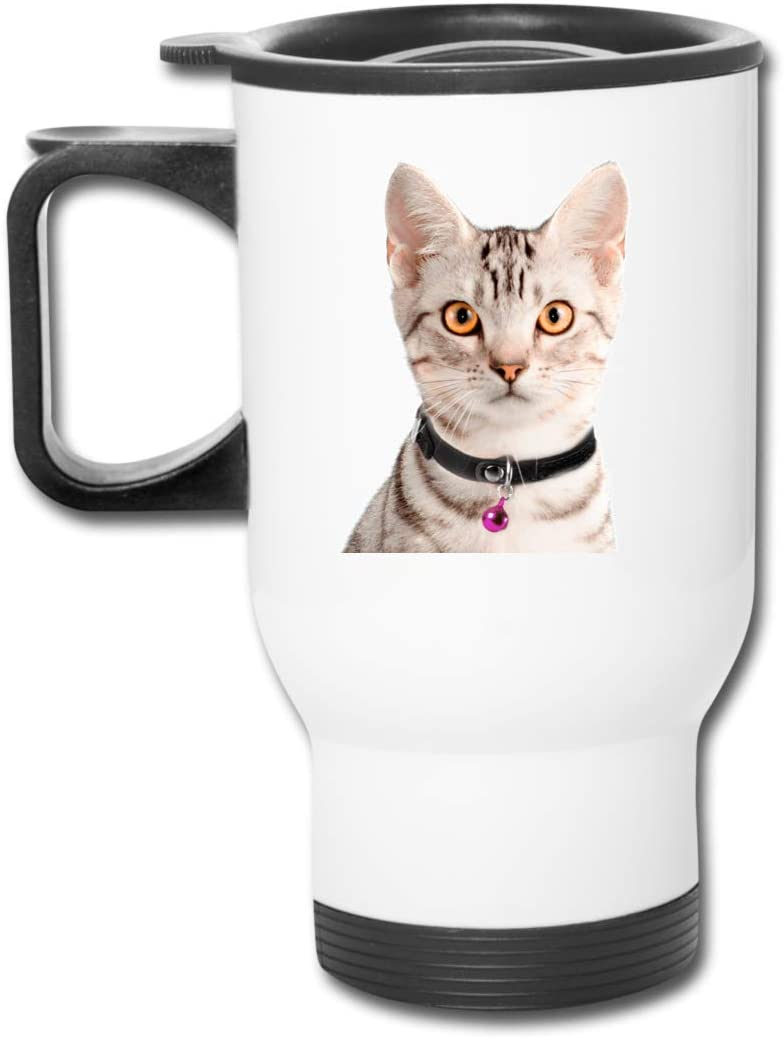 Bestqe Taza Aislada con Asa, Cute Cat and Bell 13.5oz Car Cup Stainless Steel Insulated Vacuum Travel for Best Gift