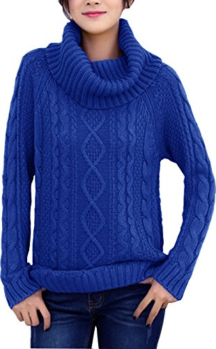 (v28 Women's Korean Design Turtle Cowl Neck Ribbed Cable Knit Long Sweater Jumper (Blue,XS))