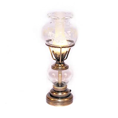 Melody Jane Dollhouse Antique Brass Oil Lamp Fancy Glass Shade LED Battery Lighting: Toys & Games