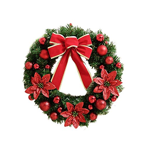 Clearance!!Artificial Wreath,Christmas Holiday Berries Snowflake Decorations Home Decor (Red)