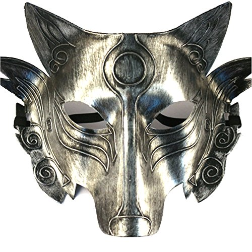 Partyfareast Cosplay Wolf Costume Mask Full Face Mask for Men Women (silver)