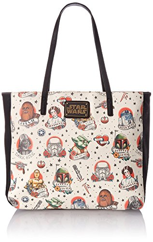 Loungefly Star Wars Tattoo Flash Print Faux Tote Bag, Multi, One Size]()
