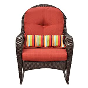 Wicker Rocking Chair Porch Deck Rocker Patio Furniture With Cushion