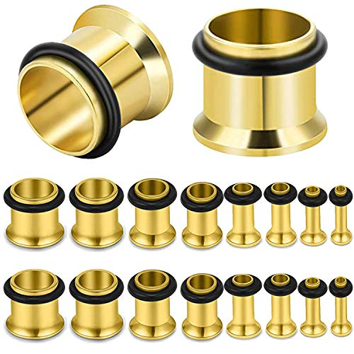 Earlets Single Flare Plugs Tunnels - BodyJ4You 18PSC Gauges Plugs Stretching Kit Single Flare Tunnels Set 14G-00G Goldtone Stainless Steel