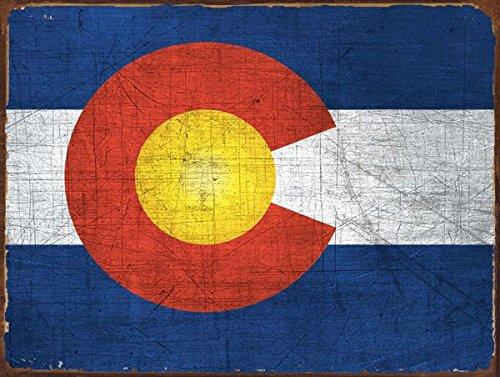 Colorado Flag Metal Sign, Vintage Sign, Rustic (Flag Vintage Metal)