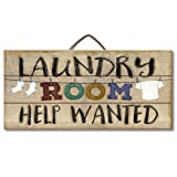 laundry room makeovers Highland Woodcrafters Laundry Room Help Wanted Reclaimed Wood Pallet Sign - Made in USA!