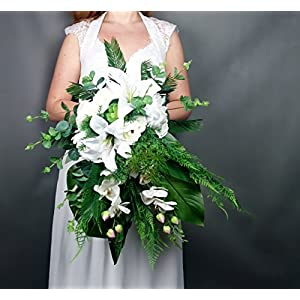 White Cascading Wedding Bouquet Lily Orchid Tropical Greenery 4