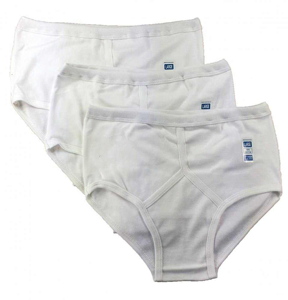 3X Pairs of Mens Traditional 100% Cotton Y Style Briefs/White / Mixed Blue/S, M, L, XL, XXL, 3XL, 4XL, 5XL 100% Cotton Y Fronts