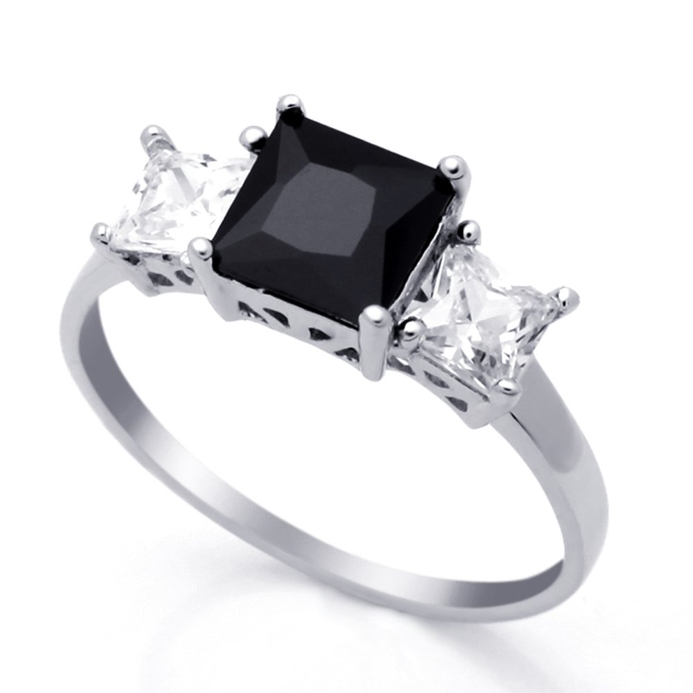 Sterling Silver Black & White Princess CZ Three Stone Anniversary Ring 7MM ( Size 4 to 10 ), 10