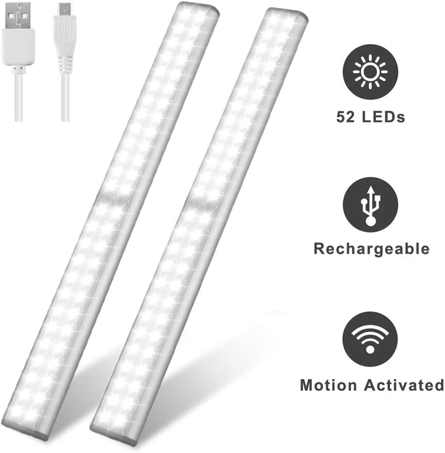 Getono Rechargeable Motion Activated Closet Lights, 52-Led Wireless Under Cabinet Night Lighting with Magnet Strip for Closet,Cabinet,Wardrobe,Kitchen,Hallway (2 Pack)