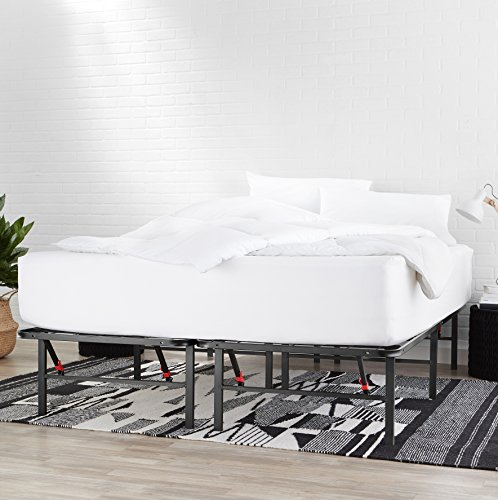 AmazonBasics Foldable Metal Platform Bed Frame for Under-Bed Storage - Tools-free Assembly, No Box Spring Needed - Queen -
