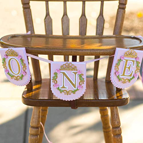 Pink and Gold Princess high chair Banner 1st birthday party decorations - 2ft long