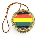 Round Woven/w Genuine-Leather Strap Summer Beach Handbag (Rasta)