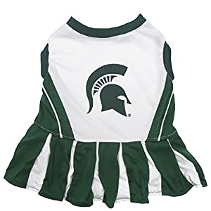 Pets First Collegiate Michigan State Spartans Dog Cheerleader Dress, Medium
