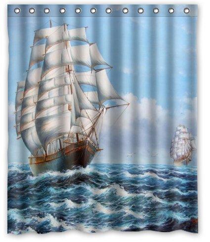 BravoVision Fashion Custom Sail Boats Paiting Waterproof Polyester Fabric Shower Curtain 60 x 72