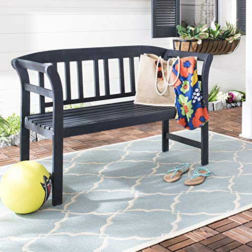 Safavieh PAT6742K Outdoor Collection Porterville Dark Slate Grey 2 Seat Bench, Gray
