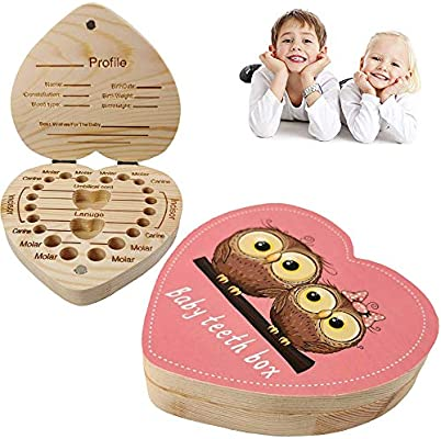 Baby Tooth Box Wooden Kids Tooth Box,Baby Save Boxes Keepsake for Children,Cute Personality Baby Heart Shape Teeth Box Pink Heart Box