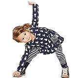 Internet Kids Girls Toddler Clothes Set Bunny Shirt Dress+Leggings (4 year, Navy)