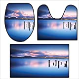 3 Piece Shower Mat Set Wooden Pier Tops Remain in Lake with Sunset Mirror Image Out Different Perspectives Royal Blue.Pattern Rug Set 15.7''x15''-23.6''x23.6''-47.2''x23.6''