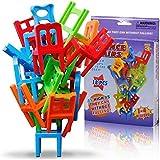 Ms.0 椅子バランスゲーム 18Pcs イス パズル 積み木 スポーツスタッキング 知育ゲーム 学習 おもちゃ モンテッソーリ