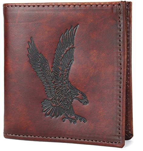 RFID Blocking Mens bifold Top Grain Leather Hipster Wallet,Made in USA,Antique brown, Flying eagle,AB802-42 (Leather Top Brown Antique)