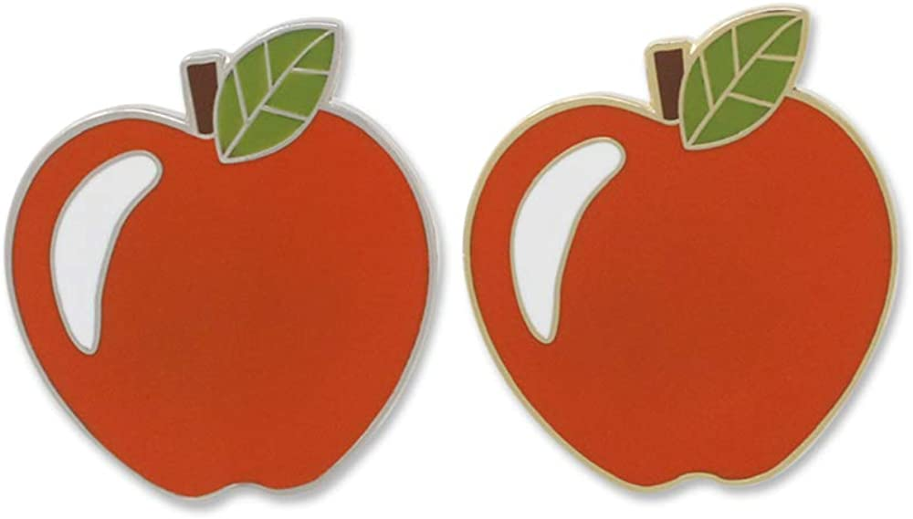WIZARDPINS Red Apple Gold & Silver Set Hard Enamel Lapel Pins– 2 Pins