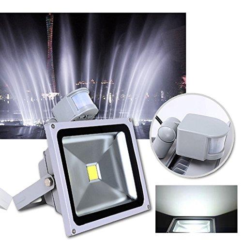 VINGO®10W 20W 30W 100W Warmweiß Kaltweiss LED Strahler Fluter Außen Leuchte Bewegungsmelder Sensorlicht mit Bewegungsmelder (30W Kaltweiss)