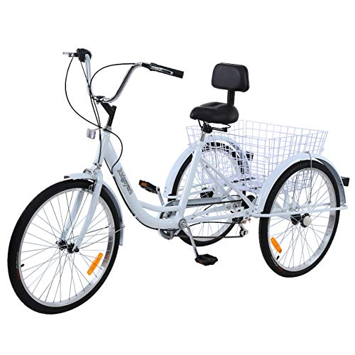 Ridgayard 7 Speed White 24 Inch 3 Wheel Adult Tricycle